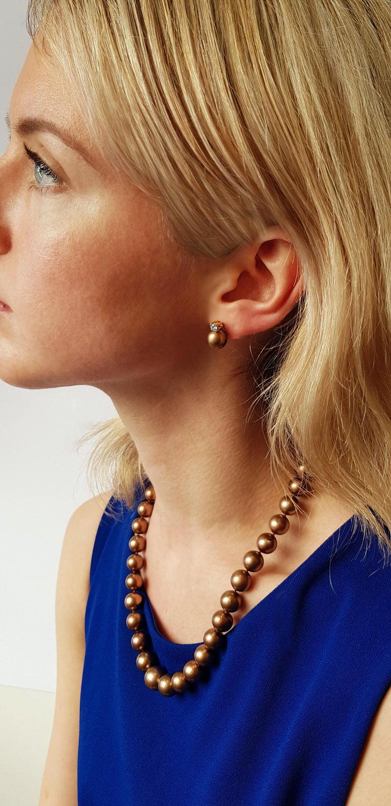 Round Cut Yoko London Chocolate Tahitian Pearl and Diamond Earrings Set in 18 Karat Gold For Sale