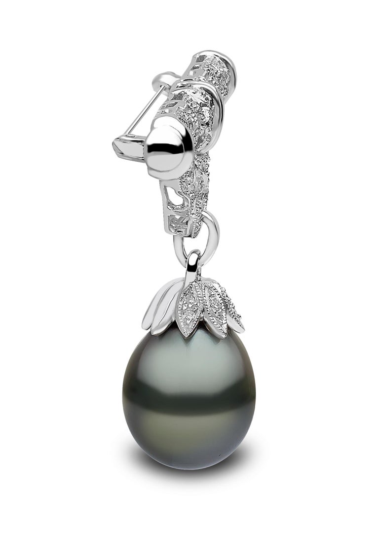 Women's Yoko London Tahitian Pearl and Diamond Brooch, Set in 18 Karat White Gold For Sale