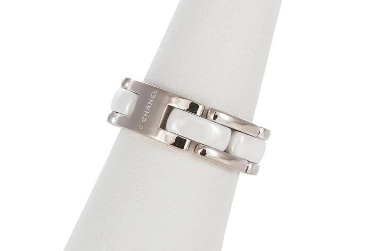Modern Chanel 18 Karat White Gold and Ceramic Ultra Ring with Box For Sale