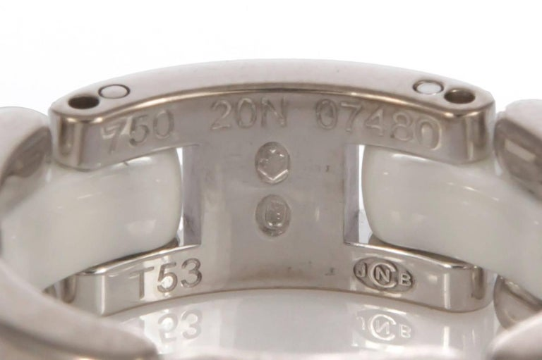 Women's or Men's Chanel 18 Karat White Gold and Ceramic Ultra Ring with Box For Sale