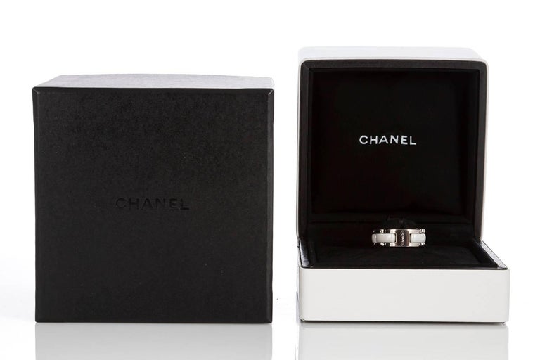Chanel 18 Karat White Gold and Ceramic Ultra Ring with Box For Sale 1
