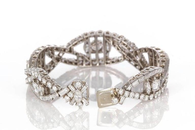 Women's Oscar Heyman Vintage Art Deco Platinum & Diamond Ribbon Bracelet 22.00ctw For Sale