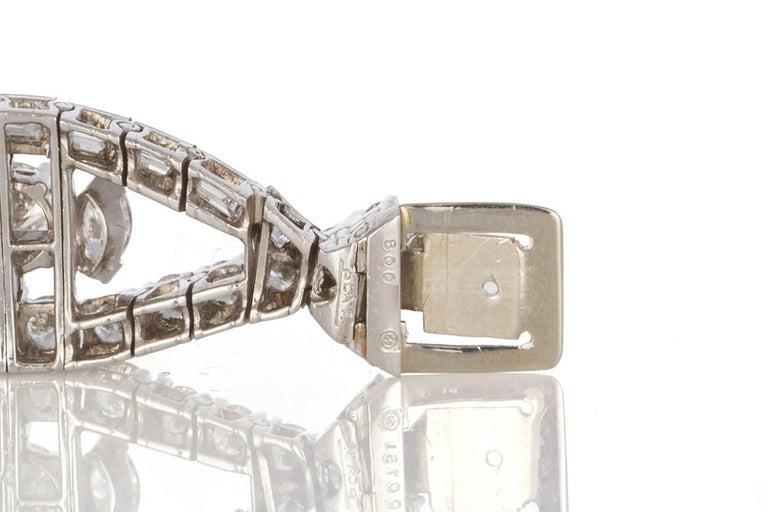 Oscar Heyman Vintage Art Deco Platinum & Diamond Ribbon Bracelet 22.00ctw For Sale 2
