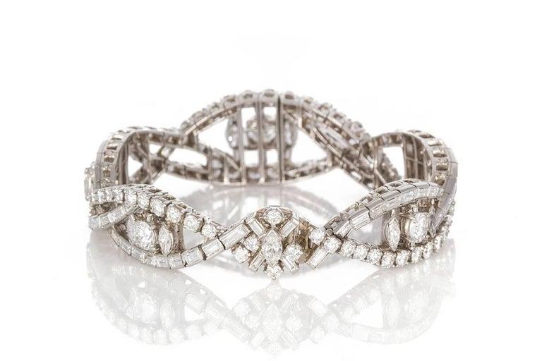 Oscar Heyman Vintage Art Deco Platinum & Diamond Ribbon Bracelet 22.00ctw In Excellent Condition For Sale In Tustin, CA