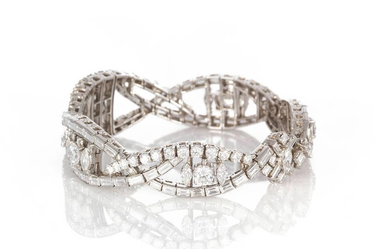 Round Cut Oscar Heyman Vintage Art Deco Platinum & Diamond Ribbon Bracelet 22.00ctw For Sale