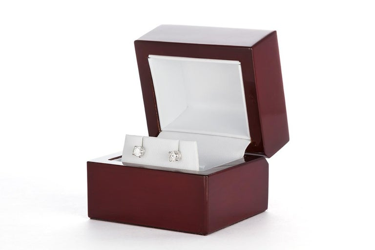 Women's Ladies 14 Karat White Gold and Diamond Stud Earrings 1.44 Carat For Sale