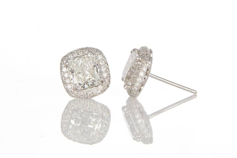 Michael Beaudry Platinum and Radiant Diamond Cushion Halo Stud Earrings In Excellent Condition For Sale In Tustin, CA