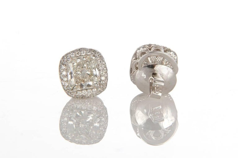 Michael Beaudry Platinum and Radiant Diamond Cushion Halo Stud Earrings For Sale 2