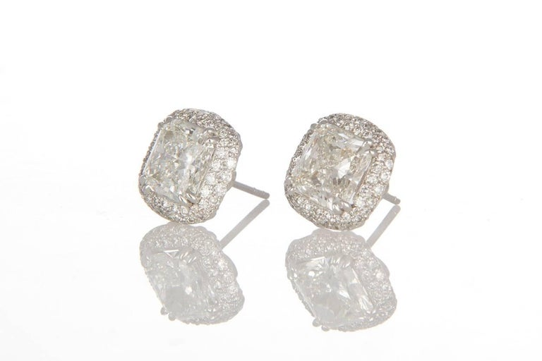 Modern Michael Beaudry Platinum and Radiant Diamond Cushion Halo Stud Earrings For Sale
