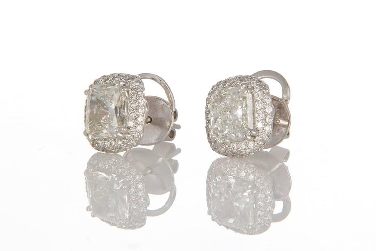 Michael Beaudry Platinum and Radiant Diamond Cushion Halo Stud Earrings For Sale 1