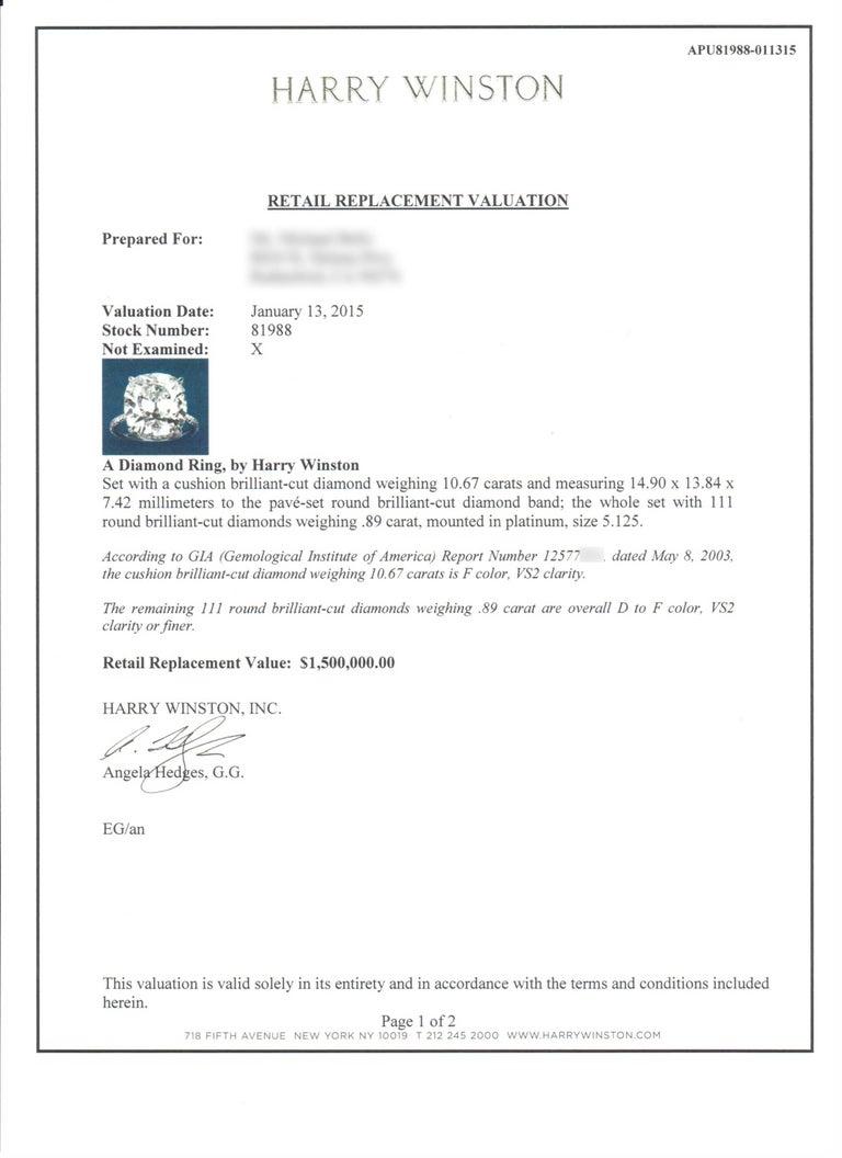 Harry Winston GIA Certified Cushion Cut 10.67 carat F/VS2 Diamond Ring  For Sale 8