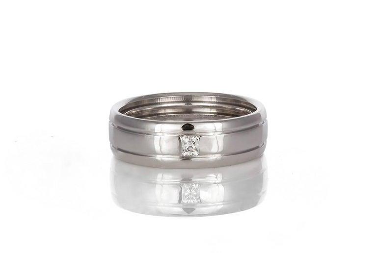 Tiffany And Co 18 Karat White Gold And Diamond Men S Wedding Band