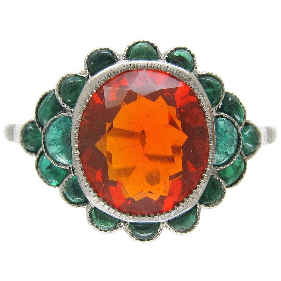 edwardian opal carved cabochon emerald platinum ring