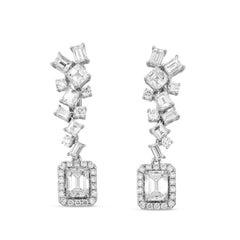 GIA Certified White Gold Mix Cut Earrings, 5.14 Carat