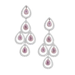 GIA Certified White Gold Chandelier Pear Cut Diamond Earrings, 3.92 Carat