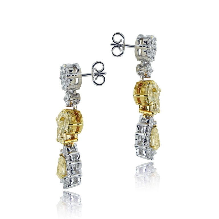 WHITE GOLD FLOWER EARRINGS WITH YELLOW DIAMONDS  Designed and created for H&Y Jewellery only, by our Italian jewellery maker.   Limited edition of one piece only   Set in 18 Karat white gold   Total earrings carat weight: 2.03 CT Color: