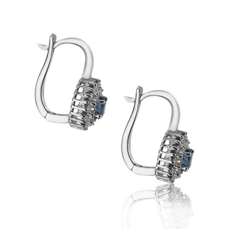 WHITE GOLD SAPPHIRE AND DIAMOND EARRINGS  18K White gold   Total diamond weight: 0.51 ct Color: G-H Clarity: VS-SI    Total sapphire weight: 0.86 ct    Total earrings weight: 5.94 grams