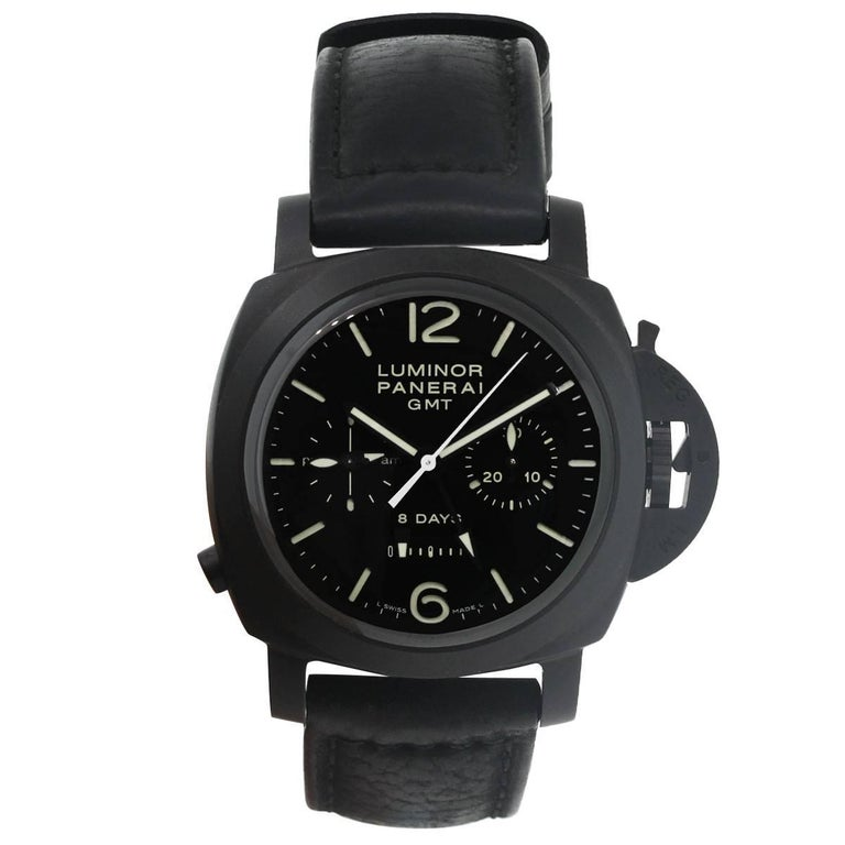Brand: Panerai MPN: 1950 Model: Luminor PAM00317 Case Material: Ceramic Case Diameter: 44mm Crystal: Scratch resistant sapphire crystal Bezel: Fixed black ceramic bezel Dial: Black dial with luminous hands and index hour markers GMT, second time