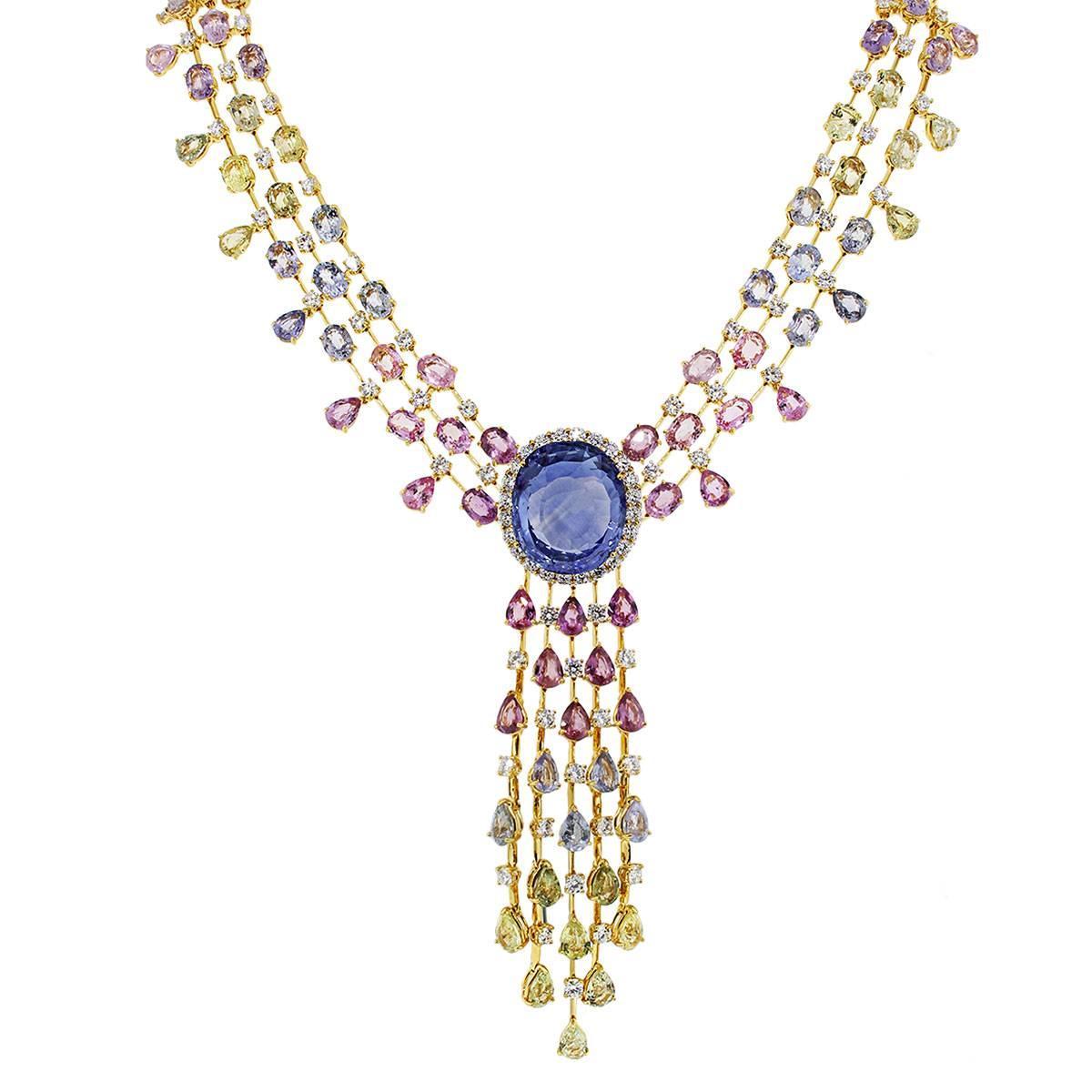 48.85 Carat Unheated Sapphire and Diamond Necklace