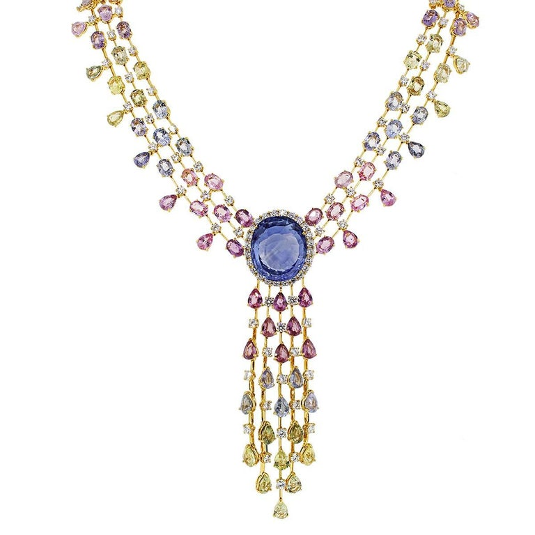 48.85 Carat Unheated Sapphire and Diamond Necklace