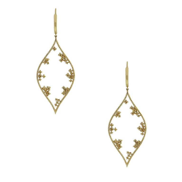 Contemporary Champagne Diamond Dangle Earrings For Sale