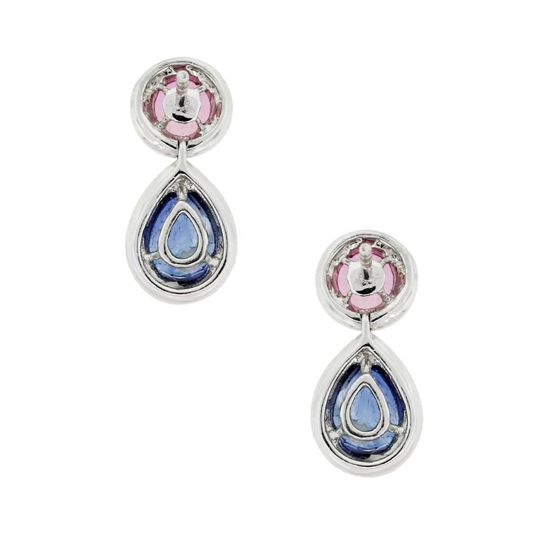 Pink Sapphire, Blue Sapphire and Diamond Dangle Earrings In New Condition For Sale In Boca Raton, FL