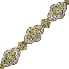 21 Carat Total White and Yellow Diamond Statement Bracelet