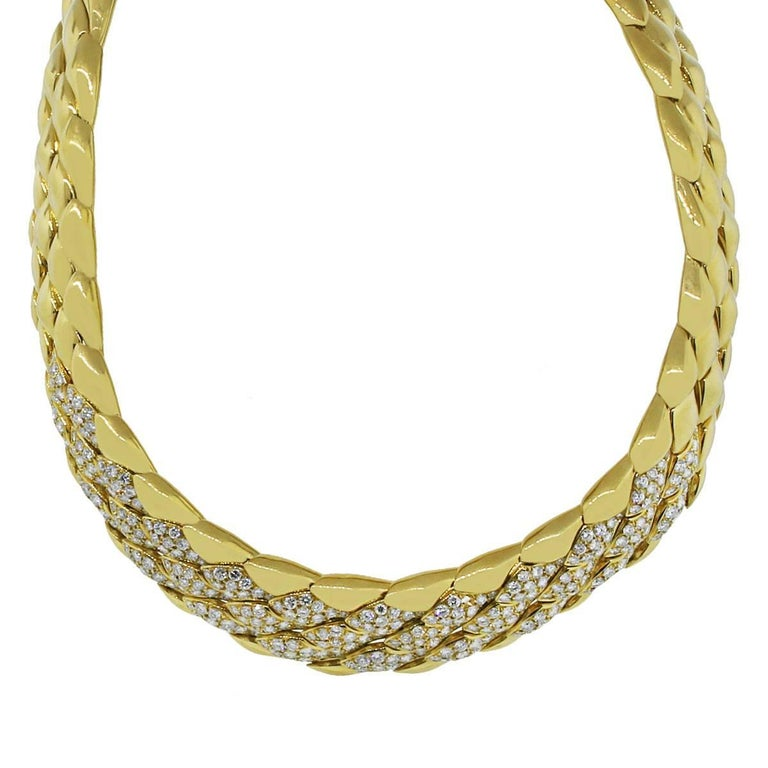 Large Diamond Collar Necklace In Excellent Condition For Sale In Boca Raton, FL