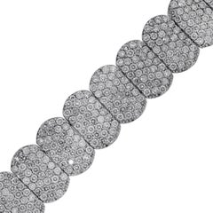 33 Carat Total Round Brilliant Pave Diamond Wide Bracelet