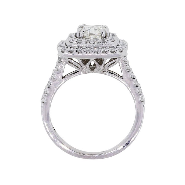 1 carat cushion cut diamond double halo engagement ring