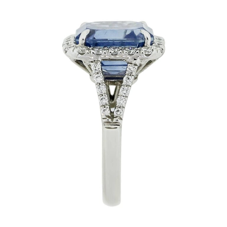 Round Cut AGL Certified 8.13 Carat Ceylon Sapphire Diamond Ring For Sale
