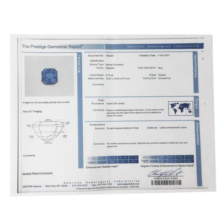 AGL Certified 8.13 Carat Ceylon Sapphire Diamond Ring 4