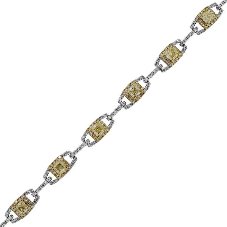 Fancy Yellow and White Diamond Bracelet