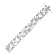 Round Diamond Open Scroll Bracelet