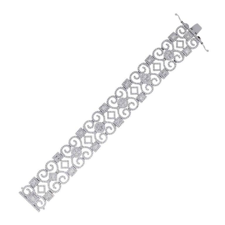 13.87 Carat Diamond Open Scroll Bracelet