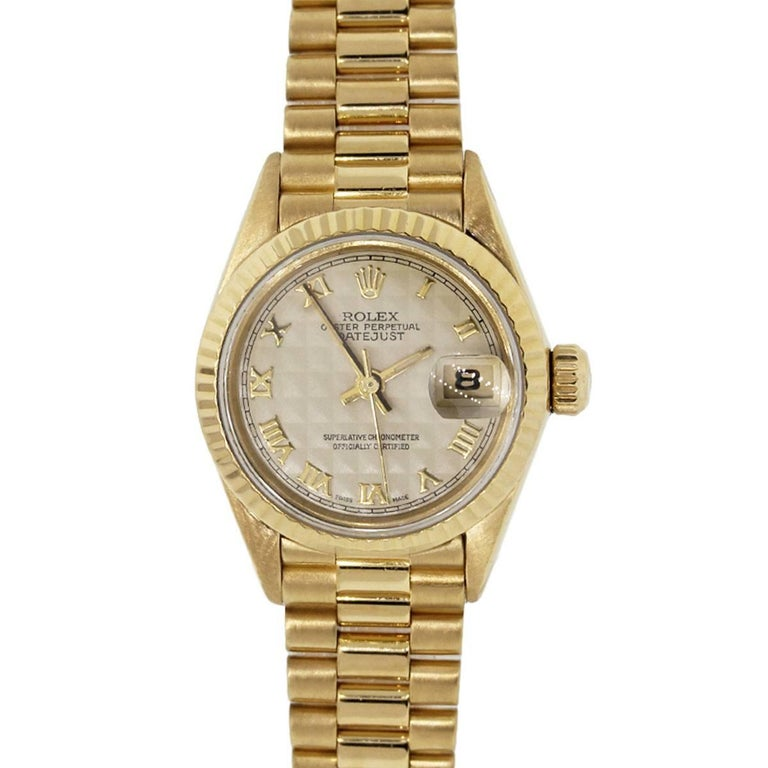 Rolex yellow gold Presidential Ivory Pyramid Dial Automatic Wristwatch