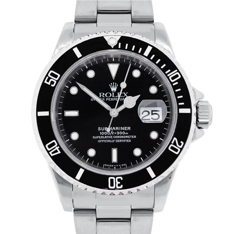 Rolex Stainless Steel Submariner Black Dial Automatic Wristwatch Ref 16610