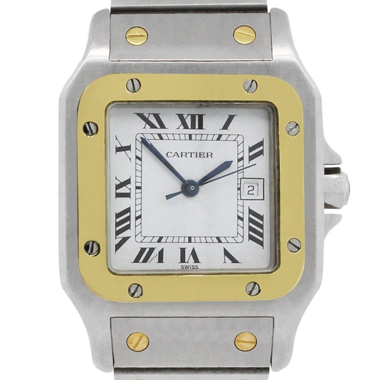 Cartier Yellow Gold Stainless Steel Santos Galbee Automatic Wristwatch Ref 2961