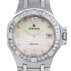 Concord Stainless Steel Diamond Bezel Saratoga Quartz Wristwatch