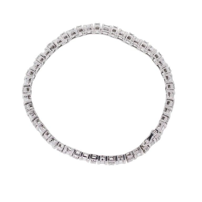 Baguette Cut Baguette Shape and Round Brilliant Diamond Bracelet For Sale