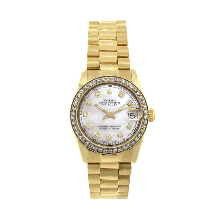 Rolex Ladies Yellow Gold Mother of Pearl Presidential Automatic Wristwatch