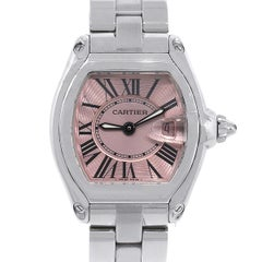 Cartier Ladies Stainless Steel Pink Dial Roadster Quartz Wristwatch