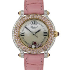 Chopard White and Rose Gold Diamond Happy Sport Quartz Wristwatch
