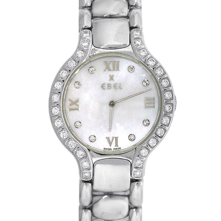 Ebel Stainless steel Beluga Mother-of-Pearl Diamond Dial Quartz Wristwatch