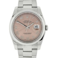 Rolex Stainless Steel Datejust Pink Dial Automatic Wristwatch, Ref 116200