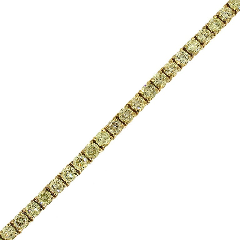 Fancy Yellow Round Brilliant Diamond Tennis Bracelet