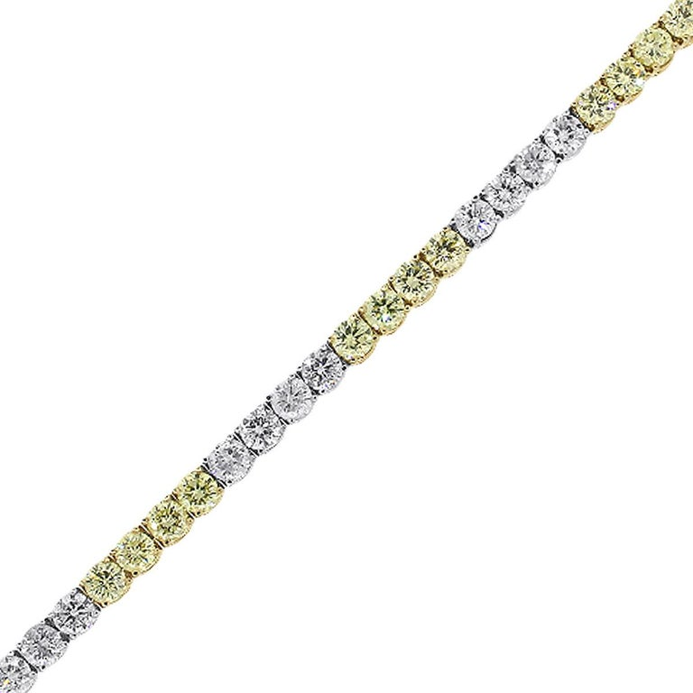 White and Fancy Yellow Round Diamond Tennis Bracelet