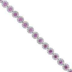 Pink Sapphire and Round Diamond Bracelet