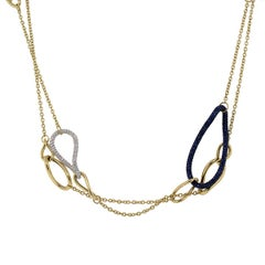 Pave Set Blue Sapphire and Diamond Chain Necklace