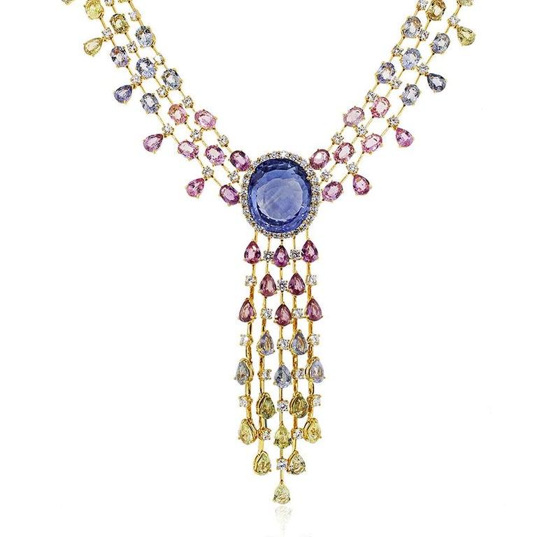 48.85 Carat Unheated Sapphire and Diamond Necklace 2